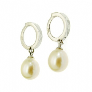 Pearl Drop Earrings Sterling Silver Faceted Hoops